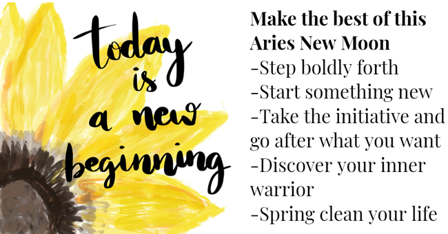 New Moon in Aries, 5 April 2019, the first new moon of spring!