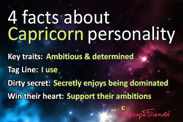 Facts about Capricorn personality: Ambitious, Determined, Responsible, Disciplined, Self-control, Realistic.